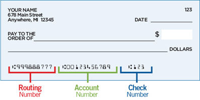 Example check showing where to find your Nusenda routing number, account number, and check number